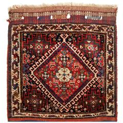 Antique Persian Tribal Qashqai Bag Face with Stripped Plain Weave Back