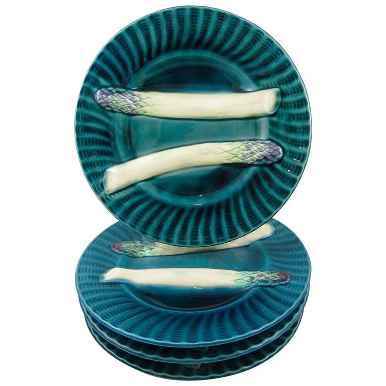 19th Century Creil et Montereau French Barbotine Majolica Asparagus Plates, S/4