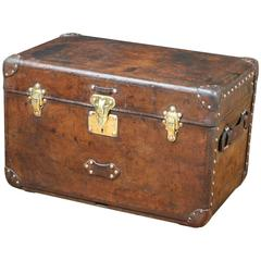 1910s Louis Vuitton Leather Trunk with Crown