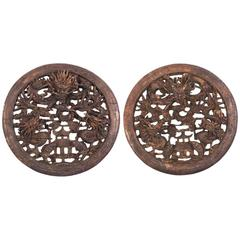 Pair of Chinese Carved Dragon Plaques