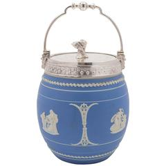 19th Century Victorian Blue Jasperware China Biscuit Barrel