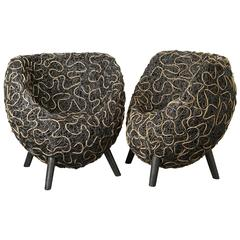 Pair of Seats in Natural and Black Lacquered Wicker, France, 1940s