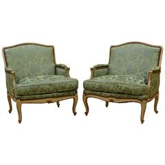 Pair of Attractive French Louis XV Style Painted and Satin Covered Bergeres