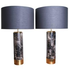 Pair of Table Lamps in Smokey Quartz and Brass, Model Kristalia by Arriau