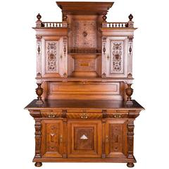 Wilhelminian Era Buffet Cabinet with Rich Carvings, 1880