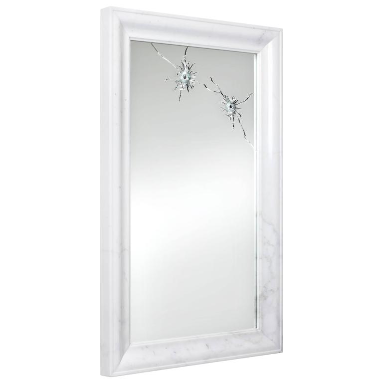 Mirror white marble frame italy barberini gunnell for sale for Floor mirror white frame