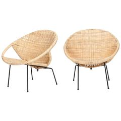 French Pair of Wicker Chairs, 1950s