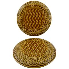 Gien French Faïence Provençal Basketweave Wine Bottle Coasters, a Pair