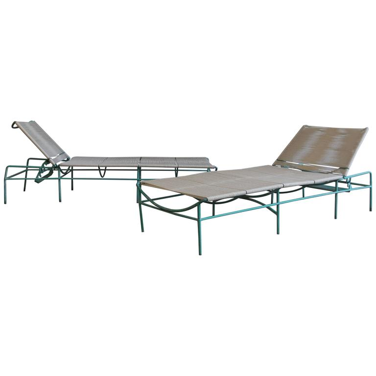 Solid Aluminum and Rope Outdoor Adjustable Chaise Longues