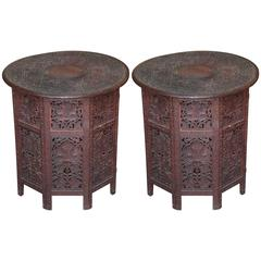 Superb Pair of Large Scale 19th Century Anglo-Indian Travel Tables