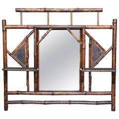 19th Century English Lacquer Bamboo Overmantel Mirror