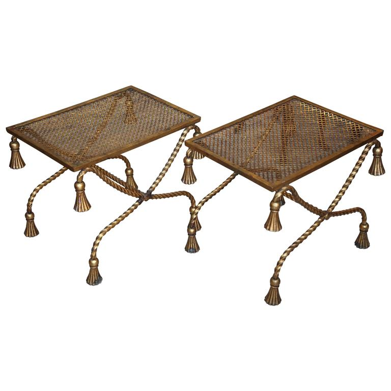 Pair of Hollywood Regency Gilt Benches