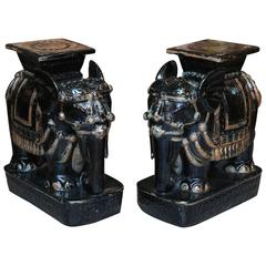Pair of Gleaming Black Elephant Garden Seats