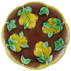 19th Century, English Majolica Rustic Yellow Pears on Bark Plate
