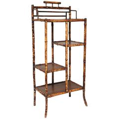 Very Sweet 19th Century English Bamboo Etagere with Leather Tops