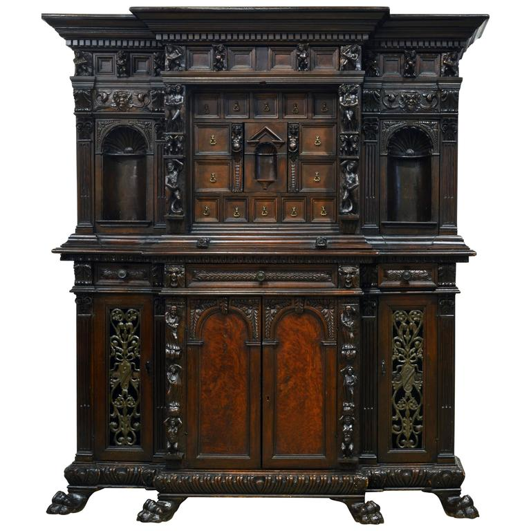 19th Century Italian Renaissance Style Two Part Carved Walnut 'Stipo a Bambocci' For Sale