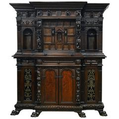 19th Century Italian Renaissance Style Two Part Carved Walnut 'Stipo a Bambocci'