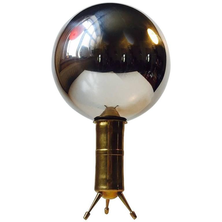 Unusual Mirror unusual mirror sphere on tripod brass stand, reflects the entire