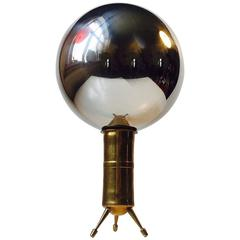 Unusual Mirror Sphere on Tripod Brass Stand, Reflects the Entire Room