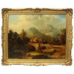 Oversized English Oil on Canvas Landscape Painting Attributed J. Constable, RA