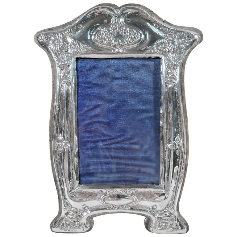 English Art Nouveau Sterling Silver Picture Frame For Sale