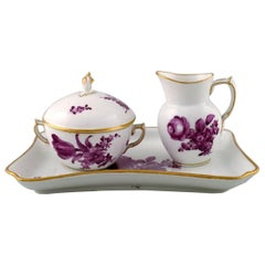 Royal Copenhagen Purple Sugar Bowl and Creamer Set on Tray