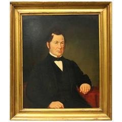 Antique Irish Oil on Canvas Portrait Painting of John Quaid, circa 1860