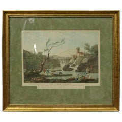 Antique French Harbour at Mont-Ferrat, Hand Colored Print by Carle Vernet