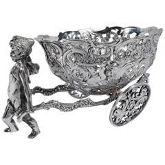 Antique German Silver Winged Cupid Harnessed to Love Cart