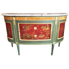 French Green Painted Console Dessert with Chinoiserie Panels