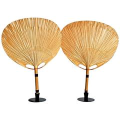 Pair of Uchiwa Table Lamps with Holder by Ingo Maurer, 1973