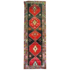 Vintage Turkish Kars Corridor Size Rug