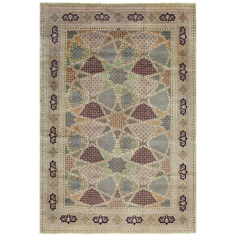 Geometric Vintage Tabriz Persian Rug