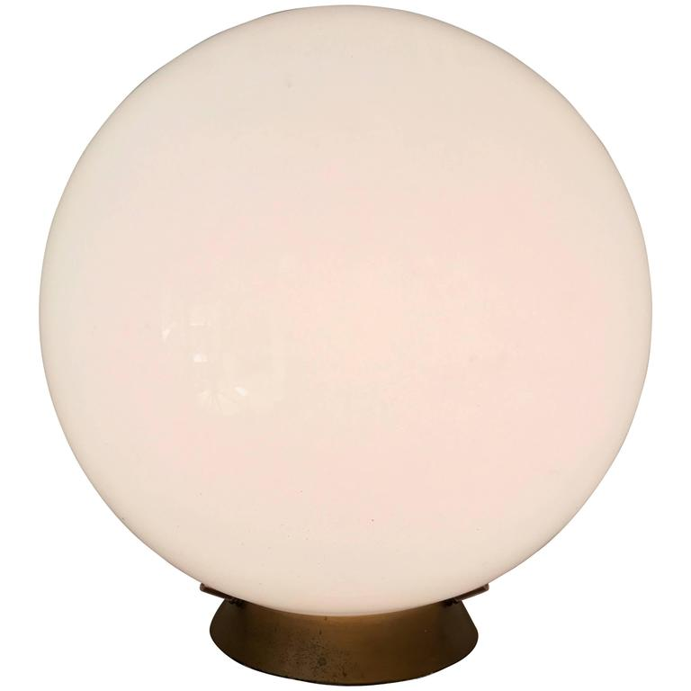 Mid Century Glass Globe Table Lamp For Sale At 1stdibs