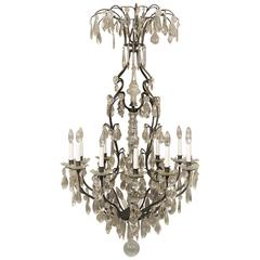 Fine Late 19th-Early 20th Century Iron and Crystal Fifteen-Light Chandelier