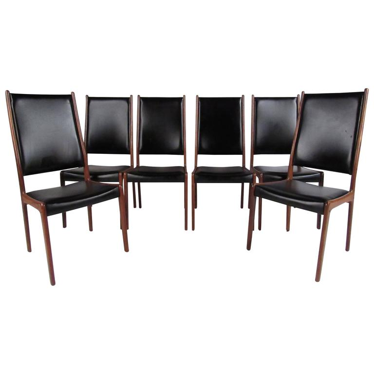 Danish modern rosewood high back dining chairs by johannes for Modern high back dining chairs