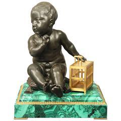 Fine Late 19th Century Sculpture Entitled Enfant à la Cage by Thiebaut Freres
