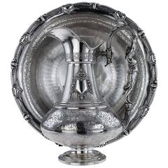 Antique French Solid Silver Exceptional Figural Ewer and Basin, Paris circa 1880