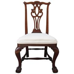 !9th Century American Mahogany Side Chair with Ball and Claw Feet