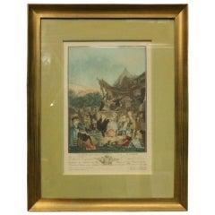 """Antique French Hand Tinted Print """"Le Menuet de La Mariee"""" by P L Debucourt"""