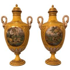 Pair of 19th Century Hand-Painted French Porcelain Lidded Urns