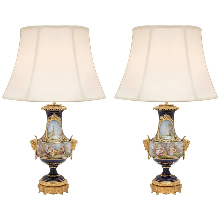 Pair of French 19th Century Louis XVI Style Sèvres Porcelain and Ormolu Lamps