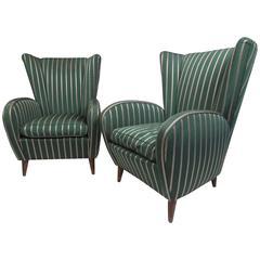 Paolo Buffa Style Wing Back Lounge Chairs