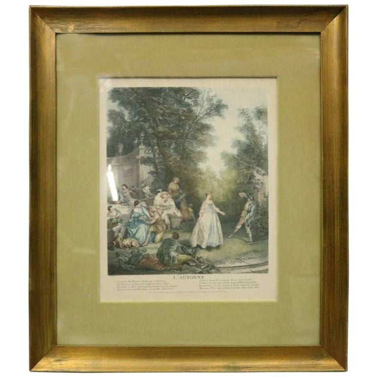 """French Hand Tinted Print """"L'autonne"""" by N. Tardieu After Lancret, circa 1870 For Sale"""