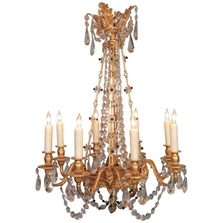 Early 20th Century French Louis XIV Bronze Dore Crystal and Amethyst Chandelier