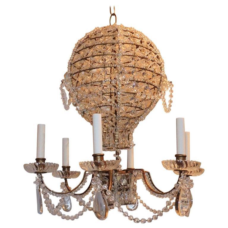 Wonderful Crystal Beaded Vintage Bronze Hot Air Balloon Chandelier Bague Fixture