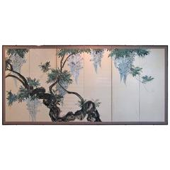 "Japanese Six-Panel Screen, ""Wisteria in Bloom"""