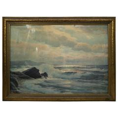 Large Antique Seascape Maritime Color Print, Original Gilt Frame, circa 1920