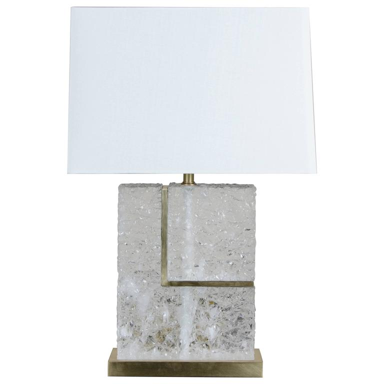 """L"" Table Lamp in Crystal and Brass by Robert Kuo, Limited Edition 1"