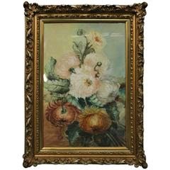 Antique Pastel Floral Still Life, Peonies by B. Peadon, 1905